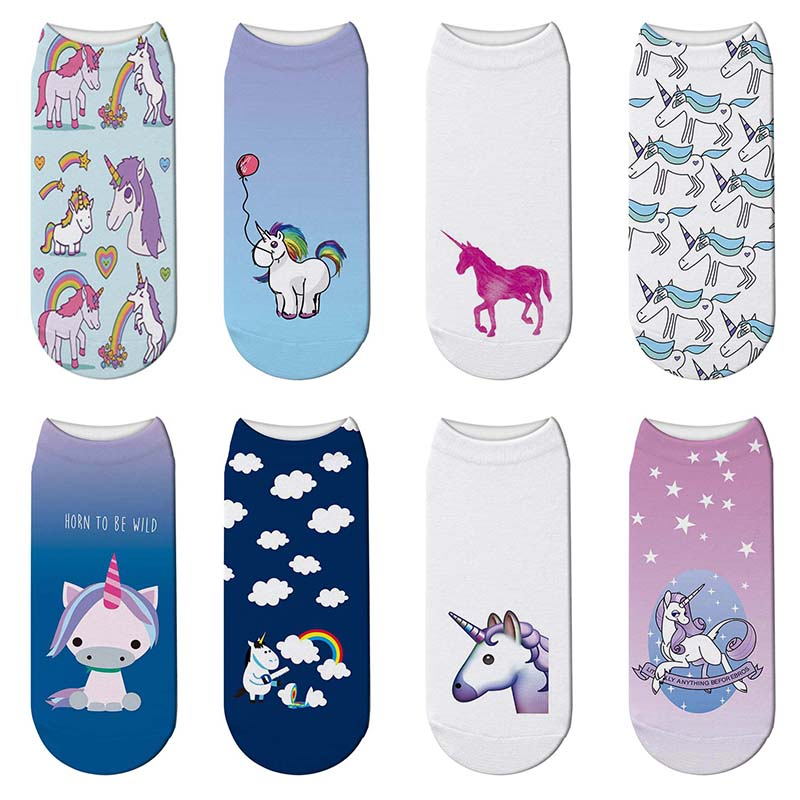 Fashion 3D Print Unicorn Short Socks Fairy Tale Animal Women Cotton Sock Kawaii Chaussette Cartoon Ankle Socks Calcetines Mujer