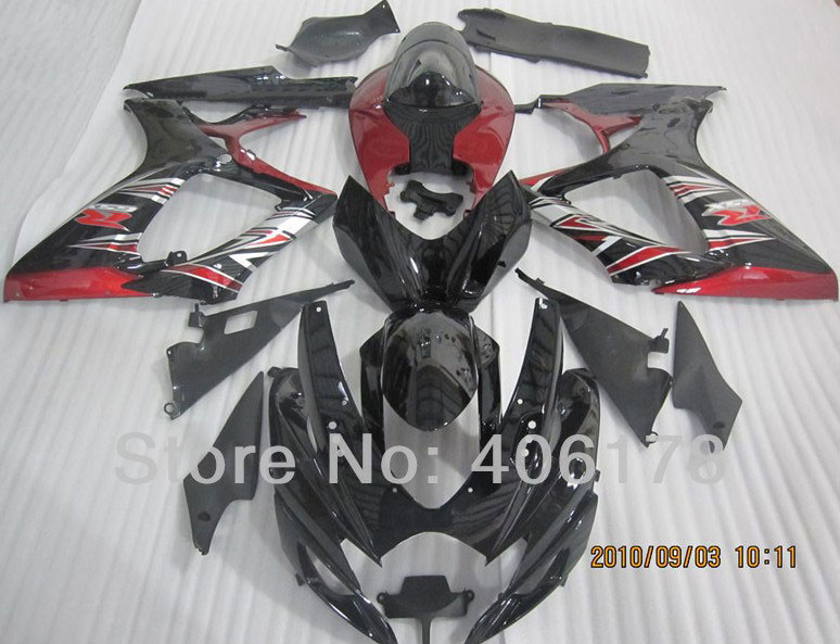 Hot Sales,K6 Fairing 06 07 gsxr 600 750 Bodykits For Suzuki GSX-R 2006 2007 Black and Red Motorcycle Fairing (Injection molding)