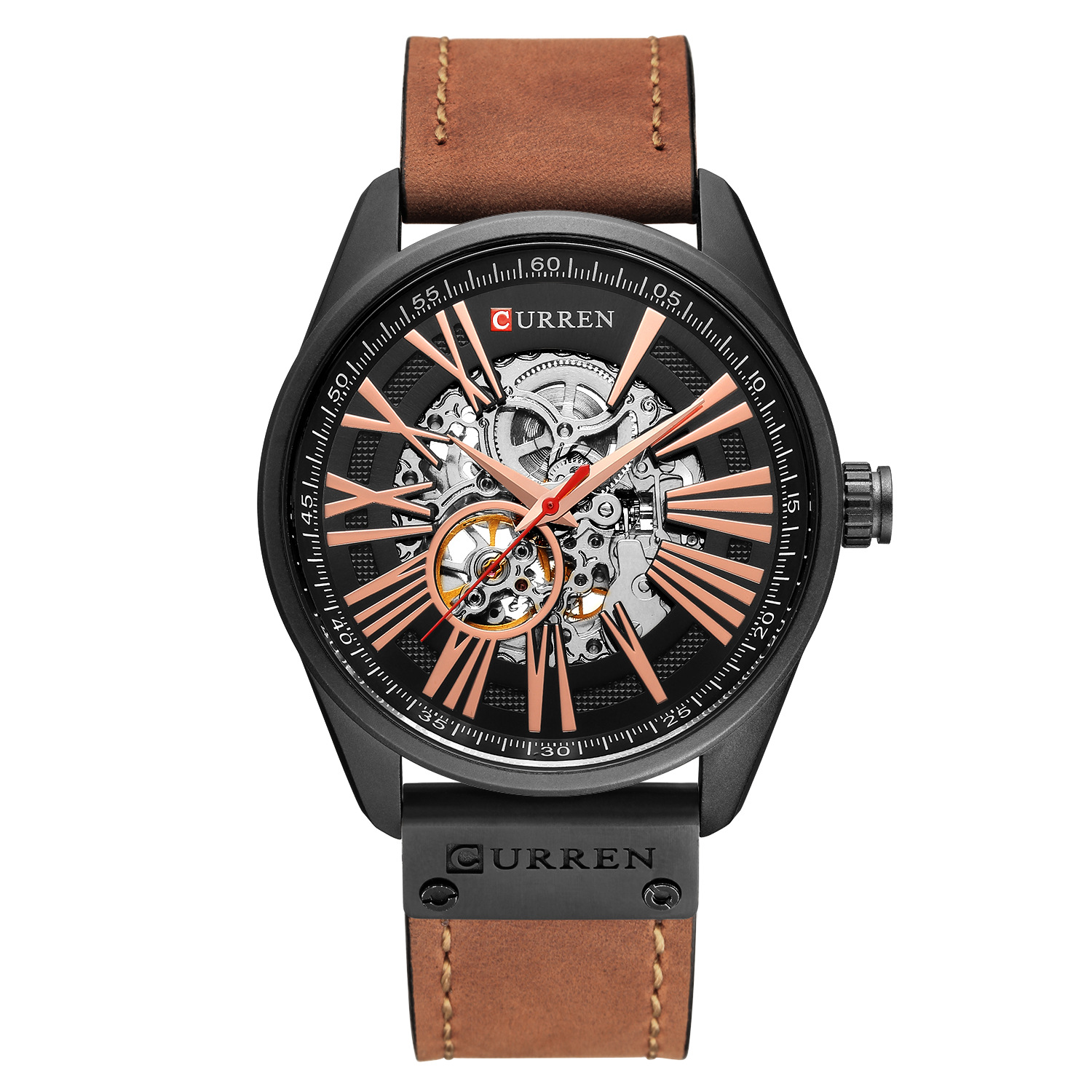 New CURREN Watch Men Skeleton Tourbillon Mechanical Watches Male Leather Automatic Self-wind Sports Clock Relogio Masculino shenhua men watches hollow transparent tourbillon mechanical watches men skeleton automatic self wind watch relogio masculino