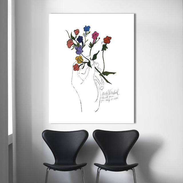 HDARTISAN Flower Pop Art Painting Andy Warhol Wall Pictures For