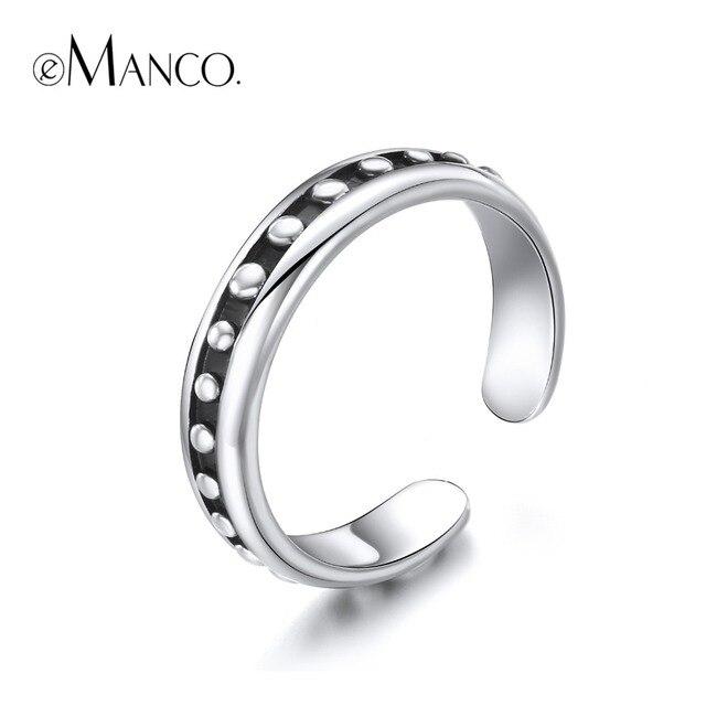 E-Manco 925 anillos de plata esterlina Unisex clásica venta al por mayor cuentas de plata anillos de boda y compromiso de moda regalos