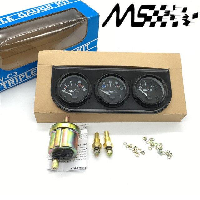52mm 3 in 1 oil temp meter water temp gauge oil pressure gauge kit