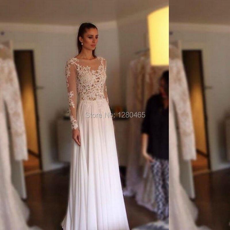 de manga larga de gasa bohemia playa vestido de novia de espalda