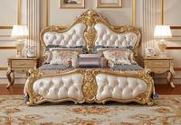 Великолепная резьба King Размеры мягкая кровать, Европейский королевский роскошная кожаная кровать твердых резьба по дереву мастер Спальня ...