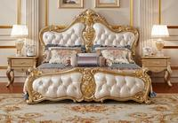 Gorgeous Carving King Size Soft Bed,European Royal Luxury Leather Bed Solid Wood Carving Master Bedroom Bed MB 0313