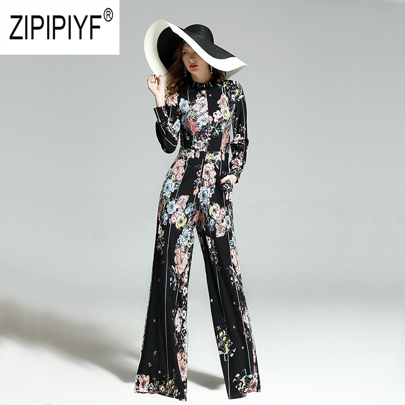 2019 Spring Fashion Women Jumpsuits Floral Printing Long Sleeve Slim Striped Long Jumpsuits Casual Elegant Chic Jumpsuits Z1226-in Jumpsuits from Women's Clothing    1