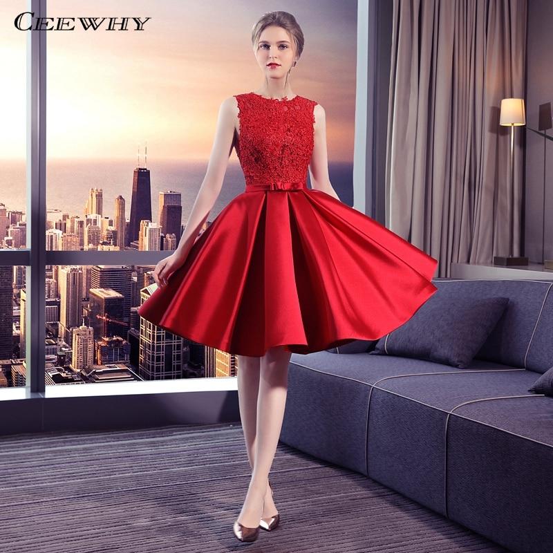CEEWHY Red Satin Dress Robe Cocktail Longue Knee Length Formal Dress Elegant Cocktail Dresses 2018 Homecoming Graduation Dresses