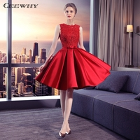 CEEWHY Red Satin Dress Robe Cocktail Longue Knee Length Formal Dress Elegant Cocktail Dresses 2018 Homecoming Graduation Dresses