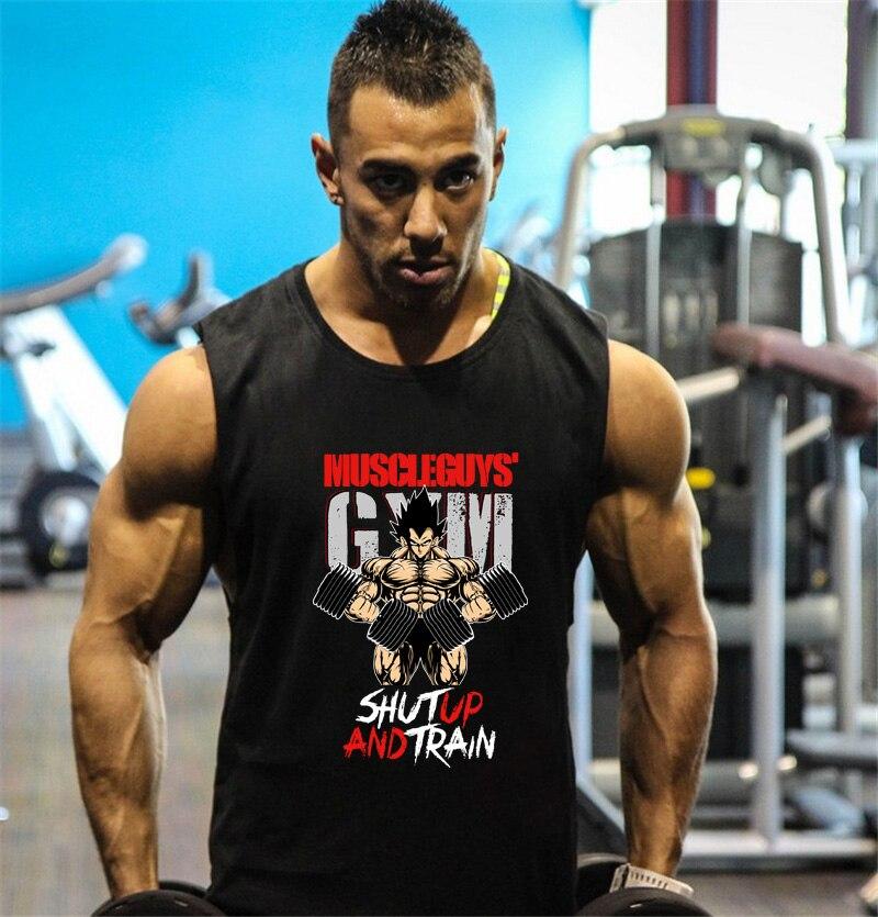 Fitness Dragon Ball Tank Top Men Bodybuilding Clothing Gyms Stringer Vests Mens Sleeveless Shirt Cotton Singlets Muscle Tops