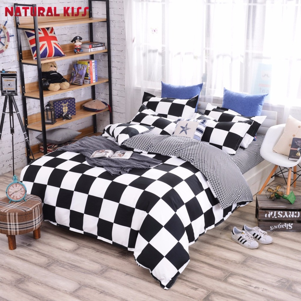 Bed sheet set black and white - Black And White Plaid Polyester Bedding Sets Stripe Style Bedding Bed Linen 3 4pcs Bedding