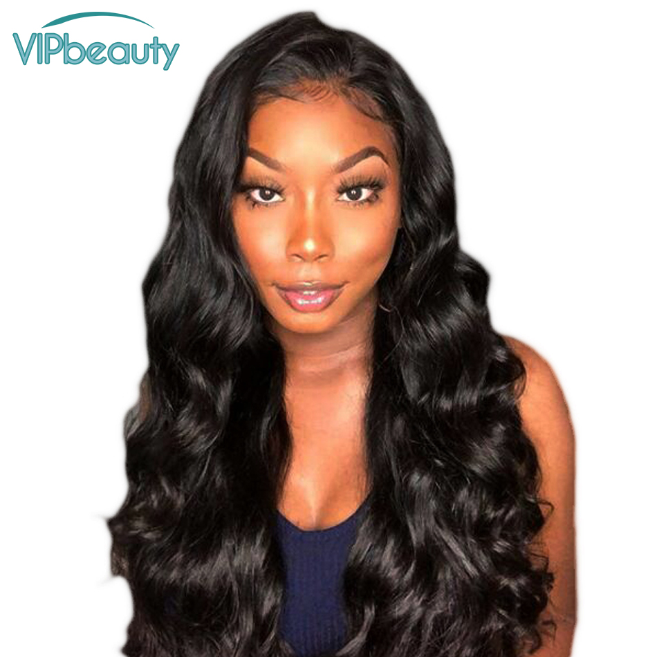 VIPbeauty Pre Plucked 13x4 Lace Front Human Hair Wigs Body Wave Malaysian Hair Remy Wig Baby