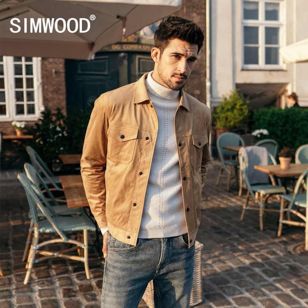SIMWOOD Smooth Suede camionero Chaqueta Hombre 2019 otoño ropa de trabajo clásica Look moda occidental abrigos Slim Fit ropa de