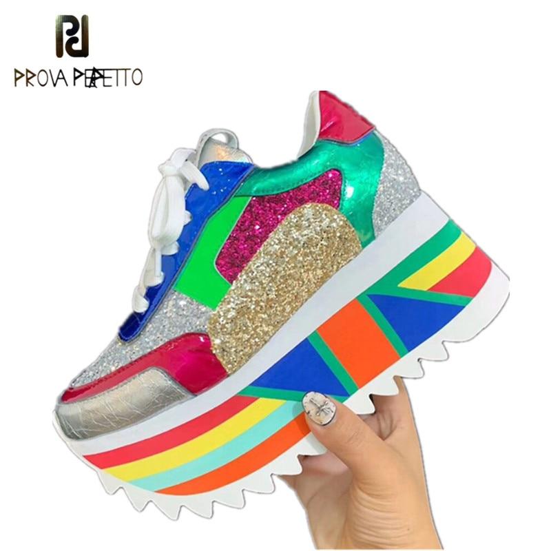 Prova Perfetto nowy BlingBling cekiny platformy trampki kobiety mieszane kolor Lace Up kolor buty z grubą podeszwą kobieta rekreacyjne buty w Damskie buty typu flats od Buty na  Grupa 1