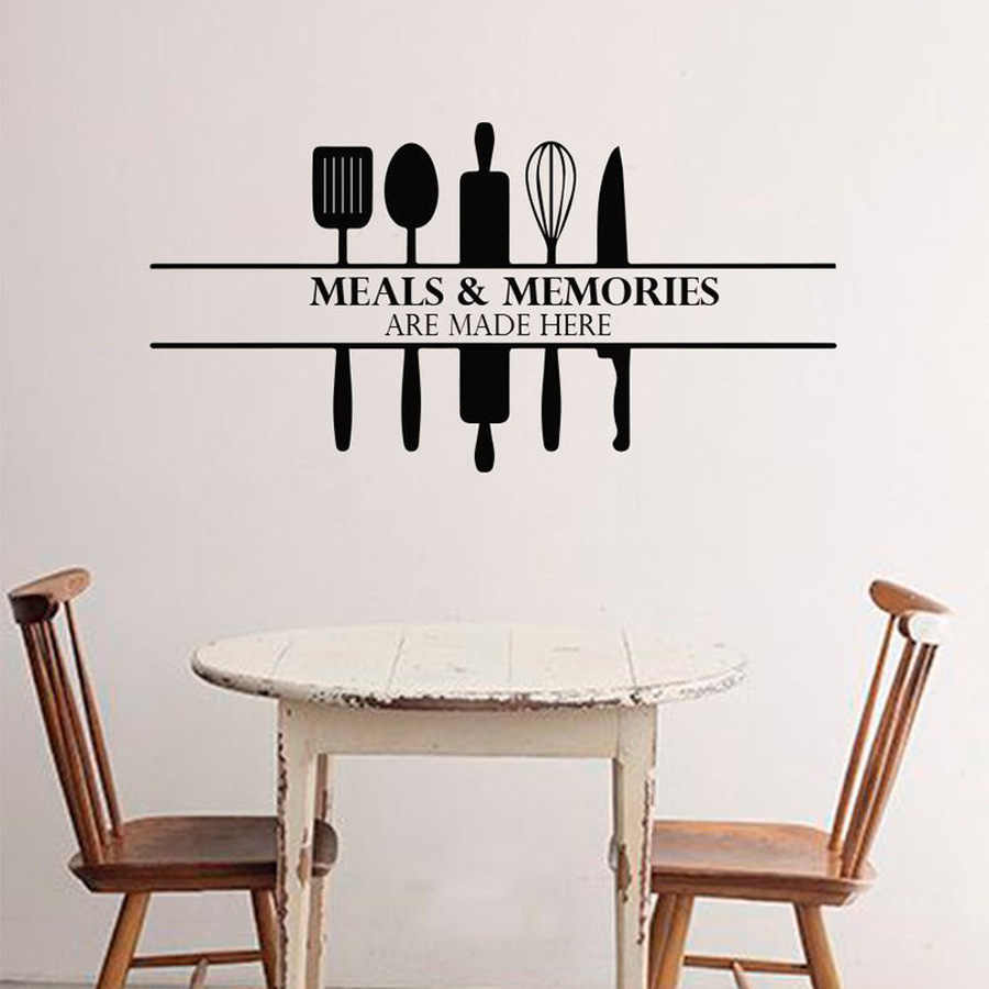 Kitchen Wall Decal Meals And Memories Quote Vinyl Wall Sticker Kitchen Background Home Decoration Mural Art Decals Stickers N192 Wall Stickers Aliexpress