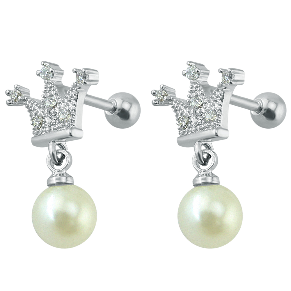 White Fake Pearl Cartilage Earring Stainless Steel Cz Stud Earrings Helix  Conch Tragus Ear Piercing Jewelry