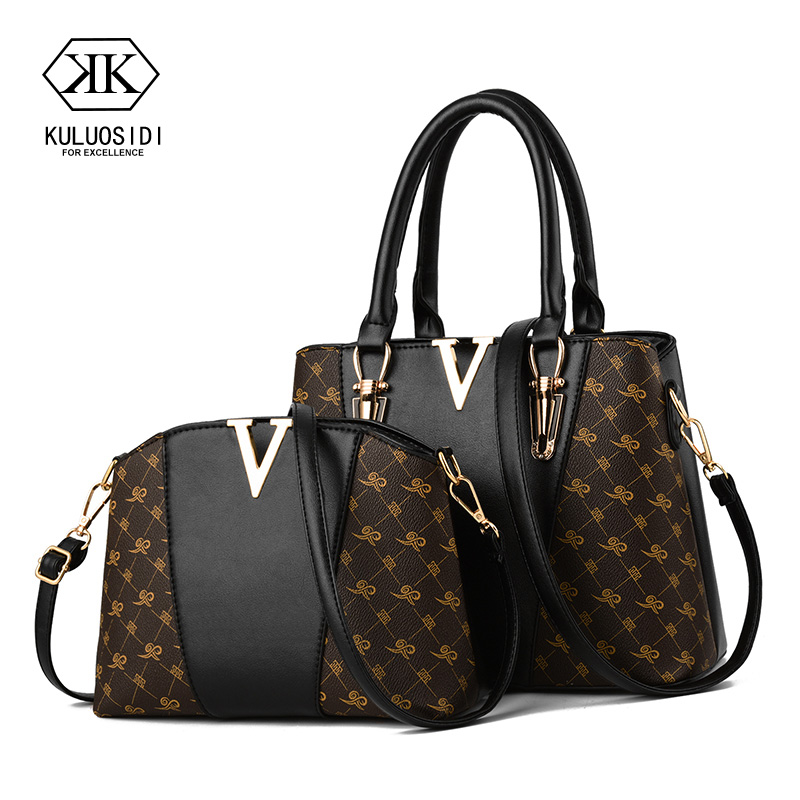 Women Bags Set 2 Pcs Leather Handbag Women Tote Bag Ladies Shoulder Bag for Women 2018 Messenger Bag Sac a Main esufeir brand genuine leather women handbag cow leather patchwork shoulder bag fashion women messenger bag tote bags sac a main