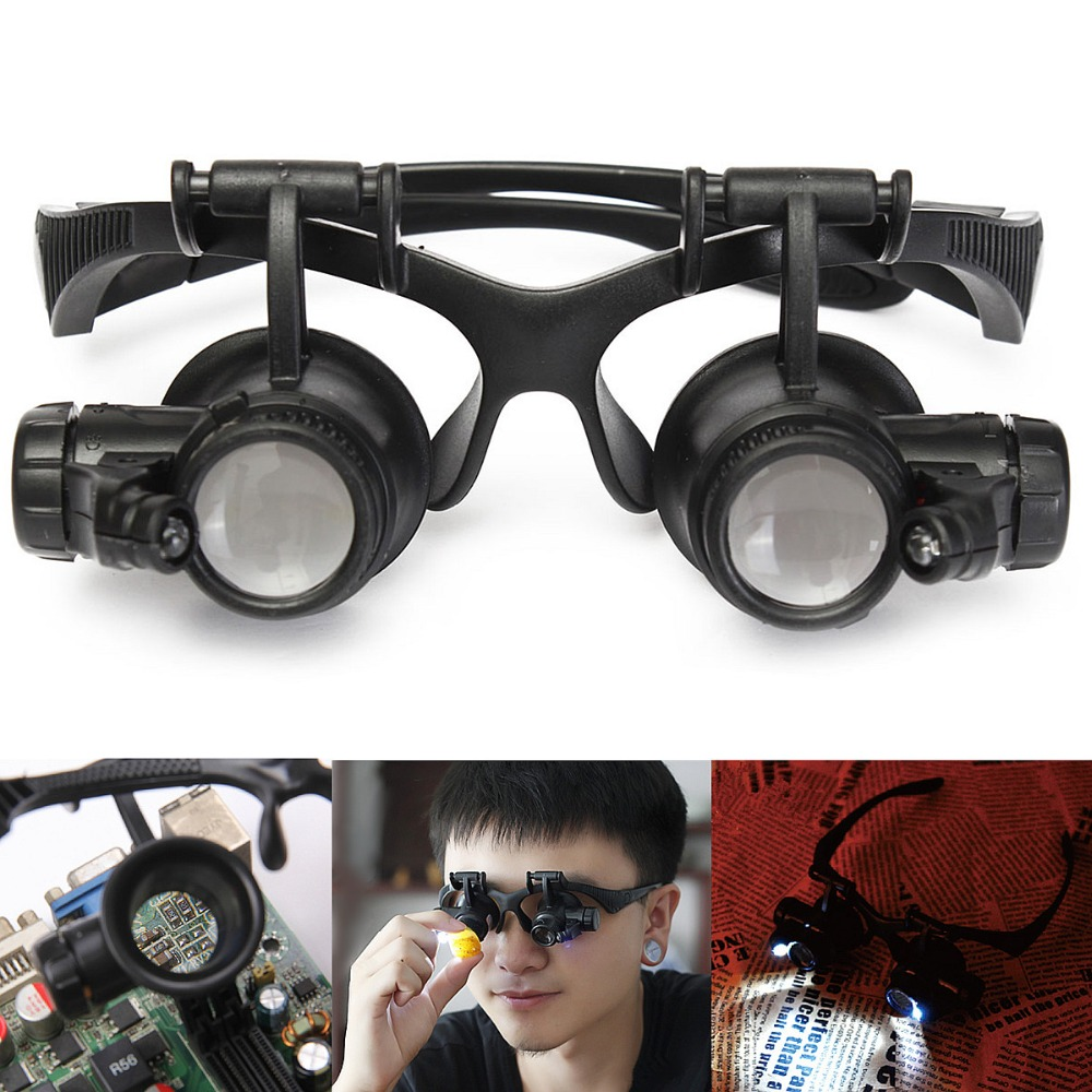 Watch Repair Magnifier 10X 15X 20X 25X Adjust Lens Magnifying Glasses 2 LED Eye Loupes Jeweler Watch Repair Tools With Box
