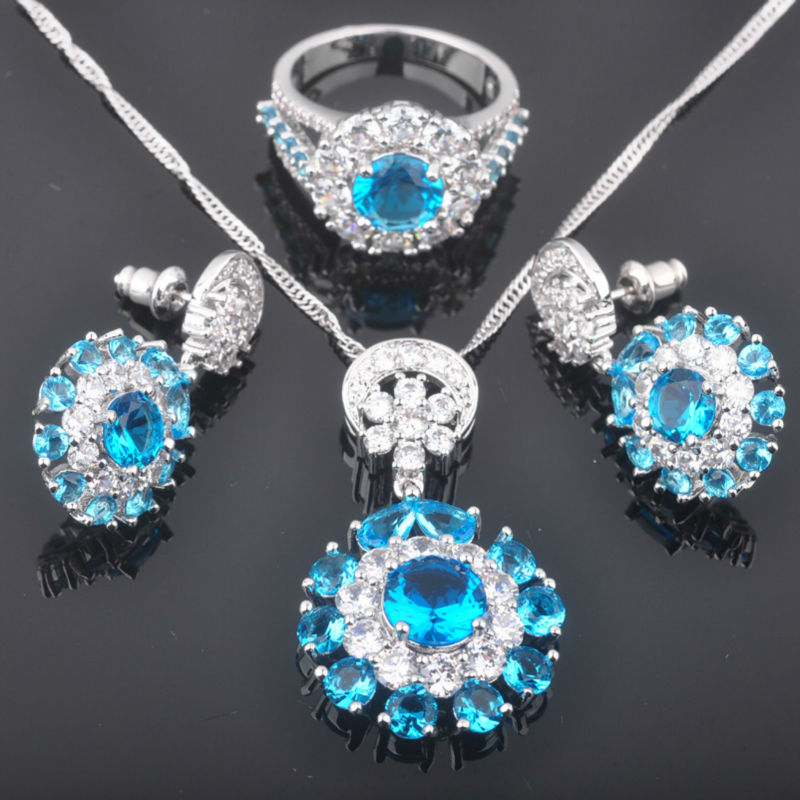 FAHOYO Noble Blue Zirconia Womens 925 Silver Wedding Jewelry Sets Earrings/Pendant/Necklace/Rings Free Shipping QZ086