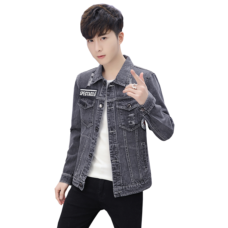2018 New Hole Mens Denim Jackets sportswear Outdoors Casual With Patches Slim Fit Jean Jacket For Men Turn Down Collar coat