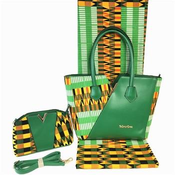 Charming party set African real batik wax fabric(6yards/lot) matching 2 handbags set for lady FB8-6