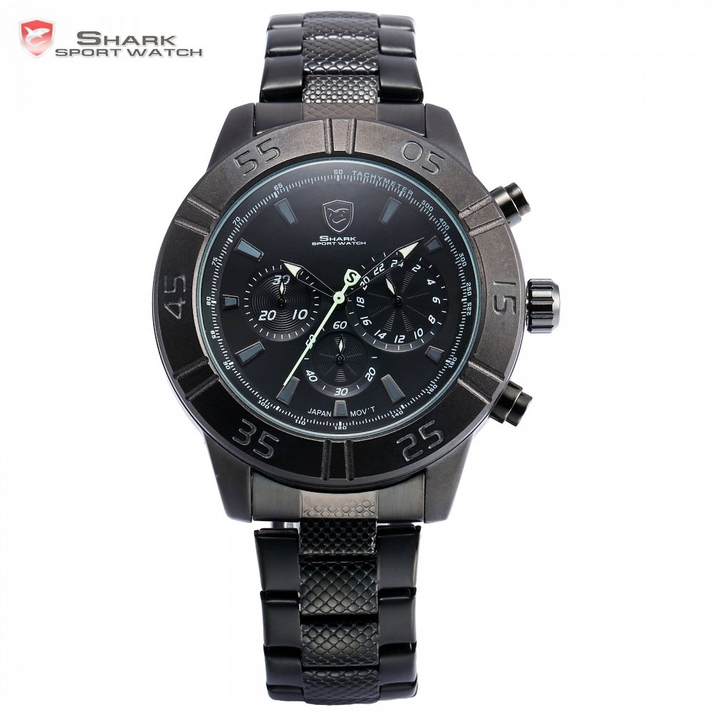Sandbar Shark Sport Watch Chronograph Black Dial Stainless Steel Clasp Band 3 Dial Quartz Men Outdoor Military Wristwatch /SH302 шейкер sport elite sh 300 850ml black