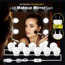 Голливудский стиль туалетный зеркальный светильник с лампочками комплект USB/EU/US зарядный Настольный косметический светильник регулируемый светильник для макияжа с регулируемой яркостью