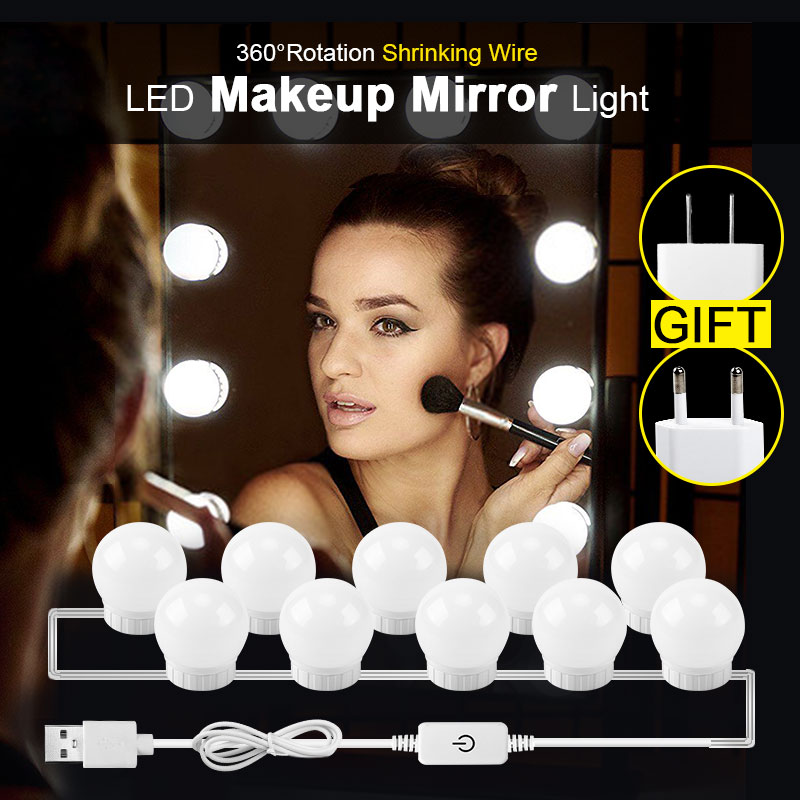 Hollywood Style Vanity Mirror Light Bulbs Kit USB/EU/US Charging Table Desktop Cosmetic Light Dimmable Adjustable Makeup Light