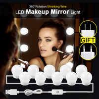 Hollywood Style Vanity Mirror Light Bulbs Kit USB/EU/US Charging Table Desktop Cosmetic Light Dimmable Adjustable Makeup Light
