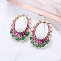 Oval Stud Earrings Geometric Colorful Zirconia Luxury Jewelry For Women Wedding Handmade Earrings 925 Post Wholesale XIUMEIYIZU