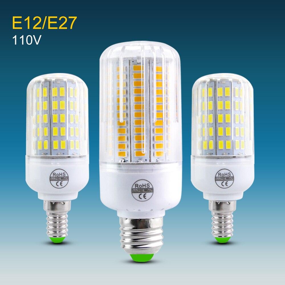 SMD5730 высокая светящаяся E27 E12 светодиодная кукурузная лампа 24-136 светодиодов точечная лампа свеча для домашнего отеля освещение в 120 в 100 в 110 В