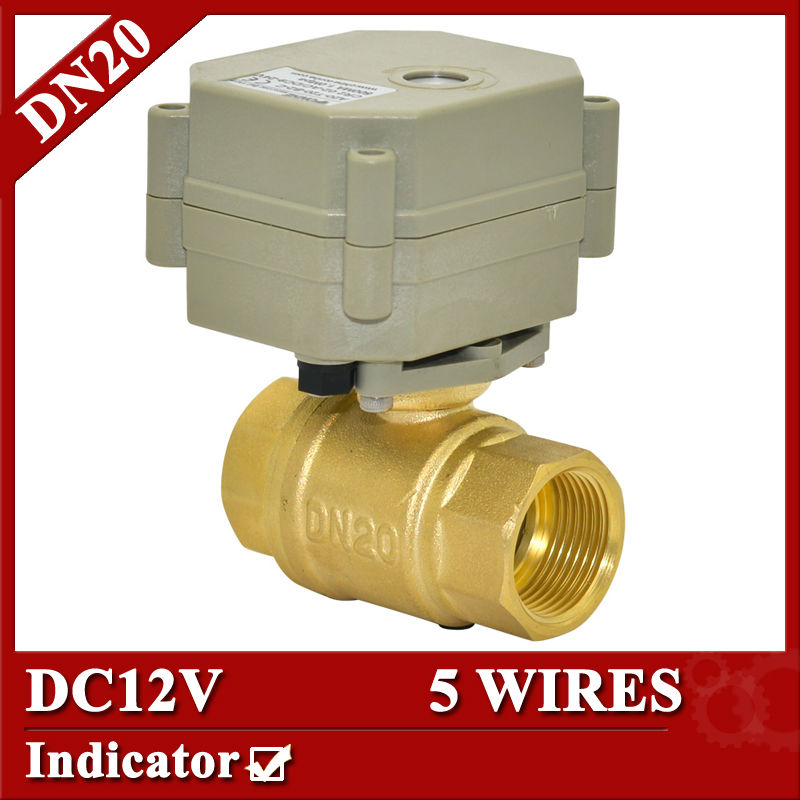 все цены на  3/4'' DC12V electric ball valve brass, DN 20, 5 wires(CR501) motorized ball valve 1.0Mpa,5sec on/off  with indicator  онлайн