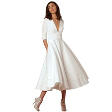 2019 New Vintage Ball Gown Dress Women Ladies Half Sleeves Pleated Big Swing Dress for Evening Party Prom Wedding Midi Dress