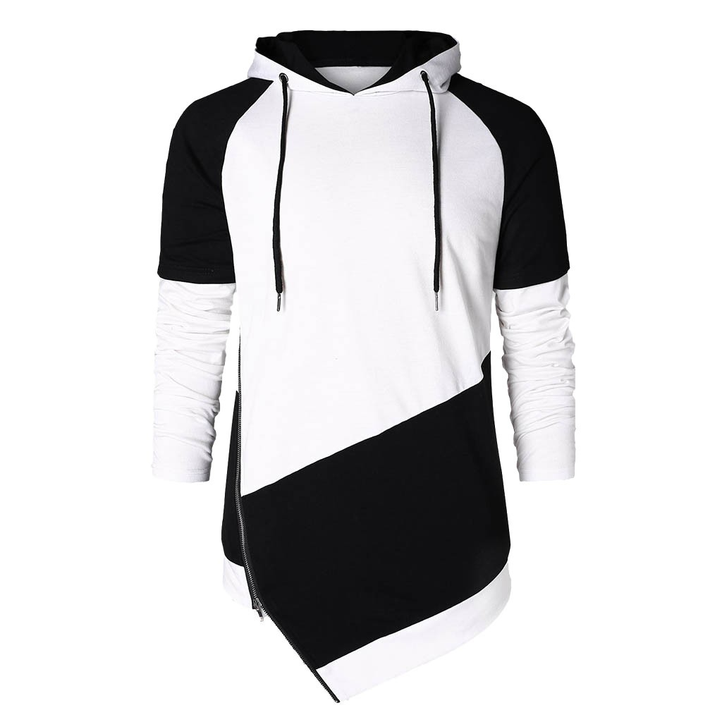 Man Hoodie Sweatshirts Patchwork Long-Sleeve Autumn Spring Blouse