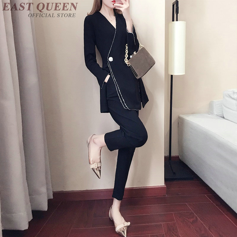 Spring women suits full sleeve deep v-neck elegant formal tops and high waist full-length bottoms pants 2 pieces pants AA3457 F
