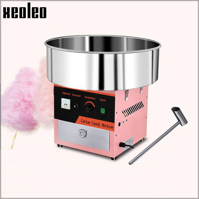 купить Xeoleo Commercial Electric Cotton Candy maker Candy Floss machine Fancy Cotton candy machine 1000W 50CM Stainless steel Pot Pink недорого