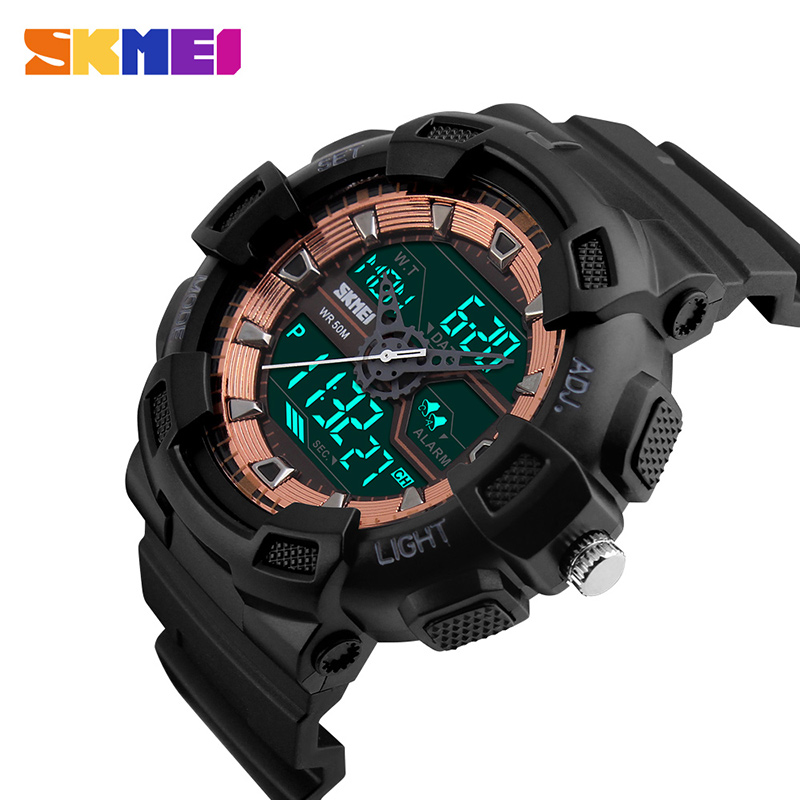 New Arrivals 2017 G SKMEI Style Sports Watches Men Chronograph Digital LED Watch Shock Resistant Dual Display Mens Wristwatches skmei men climbing sports digital wristwatches big dial military watches alarm shock resistant waterproof watch 1025