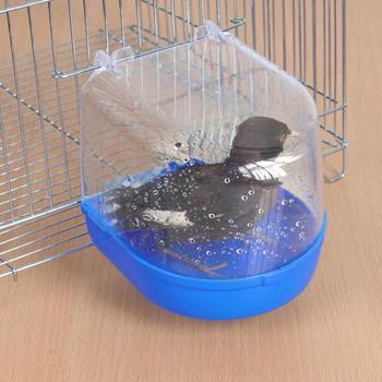 Papuga oczko wodne wanna papuga kąpiel dostarcza oczko wodne wanna klatka oczko wodne prysznic stojący Bin Wash Space artykuły dla zwierząt tanie i dobre opinie Ptak Kąpiele Bird bathtub Z tworzywa sztucznego
