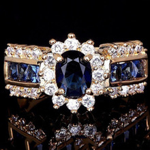 Luxury Euramerican Women Jewelry Red/Blue Crystal Zircon Ring Plated Gold Color Flower Shape Wedding Rings