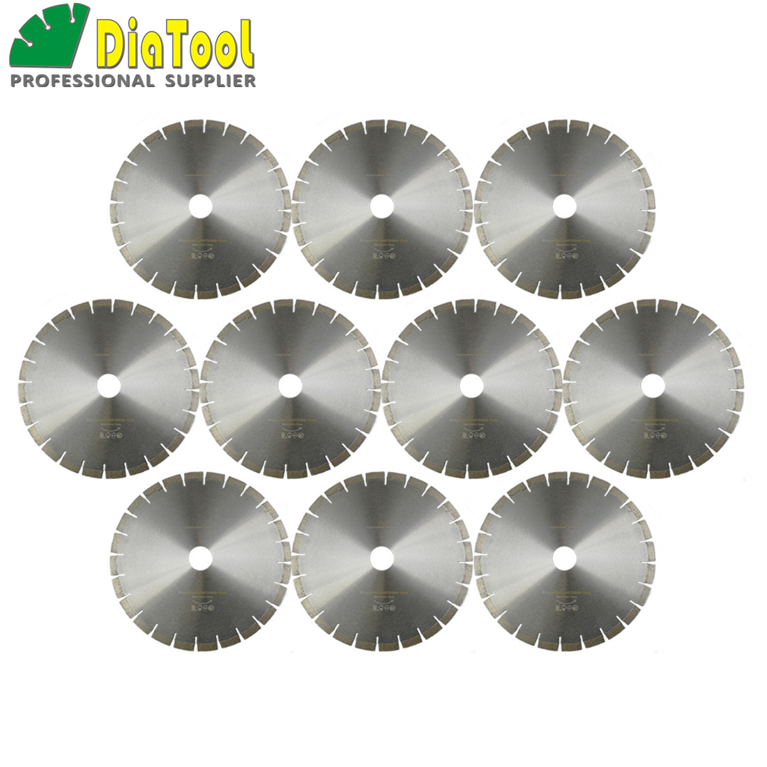 DIATOOL 10pcs 14 Diamond Silent Saw Blade Sandwich Steel Core Cutting Disc Bore 50mm Dia 370mm Granite Blade Diamond Wheel Disk free shiping1pcs aju c10 10 100 10pcs ccmt060204 dia 10mm insertable bore drilling end mill cutting tools arbor for ccmt060204