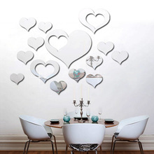 Heart-Shaped Mirror Wall Stickers Bedroom Living Room Sofa Background Decoration jing zi tie Free Combination