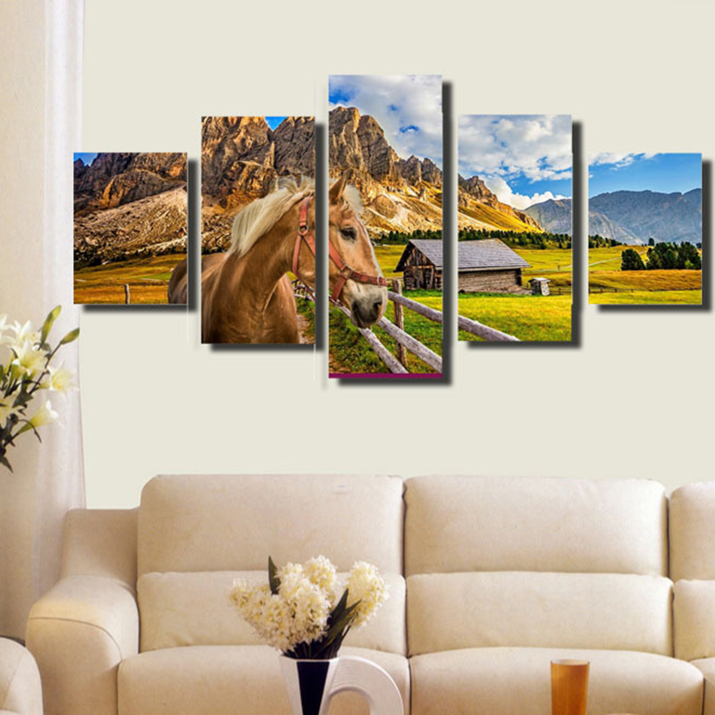 Diamonds Painting Horse Countryside Field 5 Pieces Full Kit DIY Rhinestone Wall Stickers Crafts Diamond Mosaic Canvas Painting