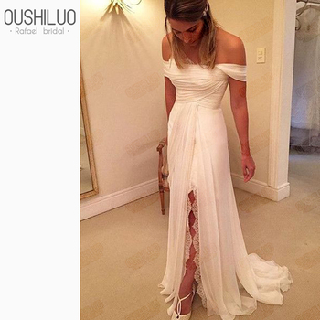 Graceful Chiffon A Line Beach Wedding Dress Gown 2019 Boho Lace Strapless Off Shoulder High Split Summer Long Bridal Dresses