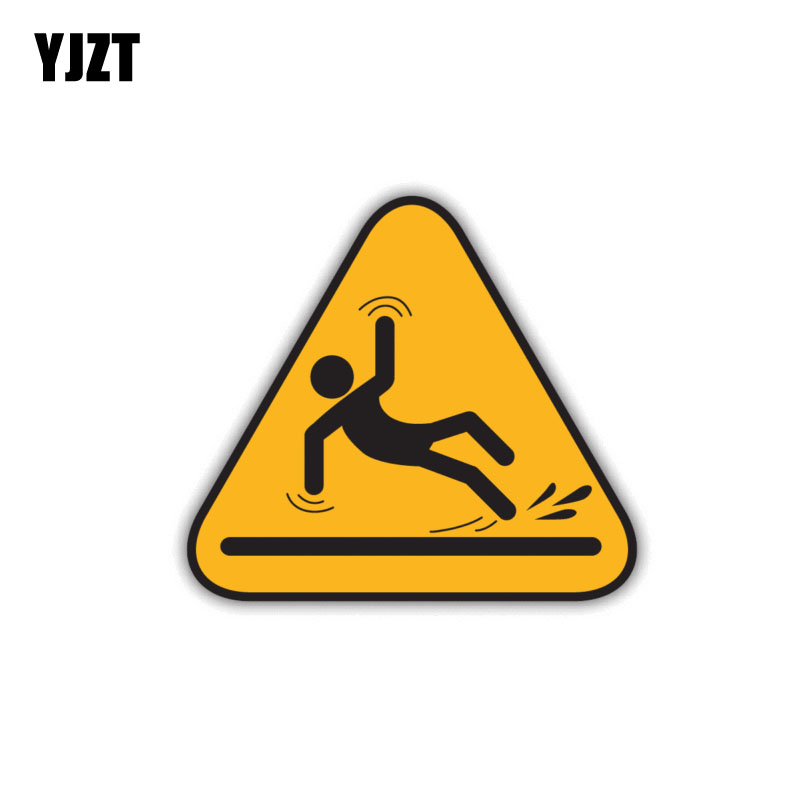 YJZT 11.2CM*10CM Personality Warning Caution Wet Floor Slippery Road Car Sticker PVC 12-1457