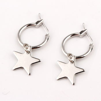 Endless Circle Geometry Star triangle Small Hoop Earrings With Pandent Silver Gold Color Simple Earring For Women Men Jewelry earrings