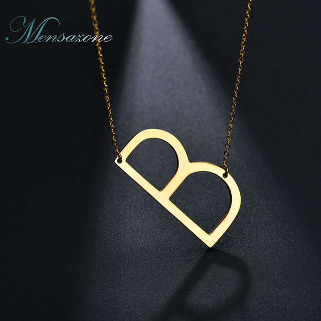 mensazone fashion letter b necklaces pendants initial necklace gold silver color stainless steel choker necklace women