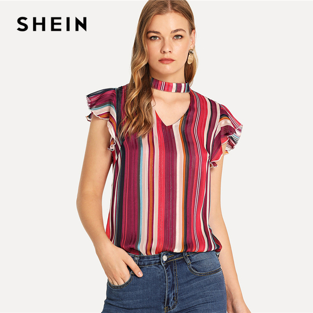 fe6afef980 SHEIN Multicolor Vacation Boho Bohemian Beach Striped V Neck Butterfly  Sleeve Ruffle Shirt Summer Women Casual Tops And Blouses