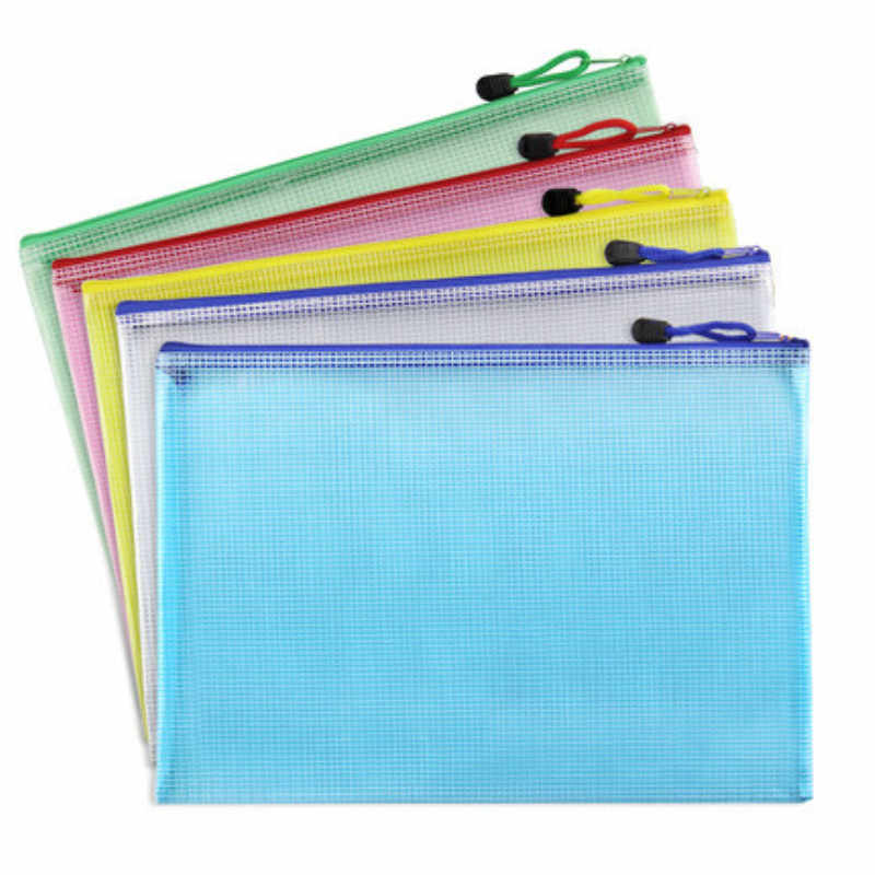1pcs A3 A4 A5 A6 Waterproof Plastic Zipper Paper File Folder Book Pencil Pen Case Bag File document bags office student supply