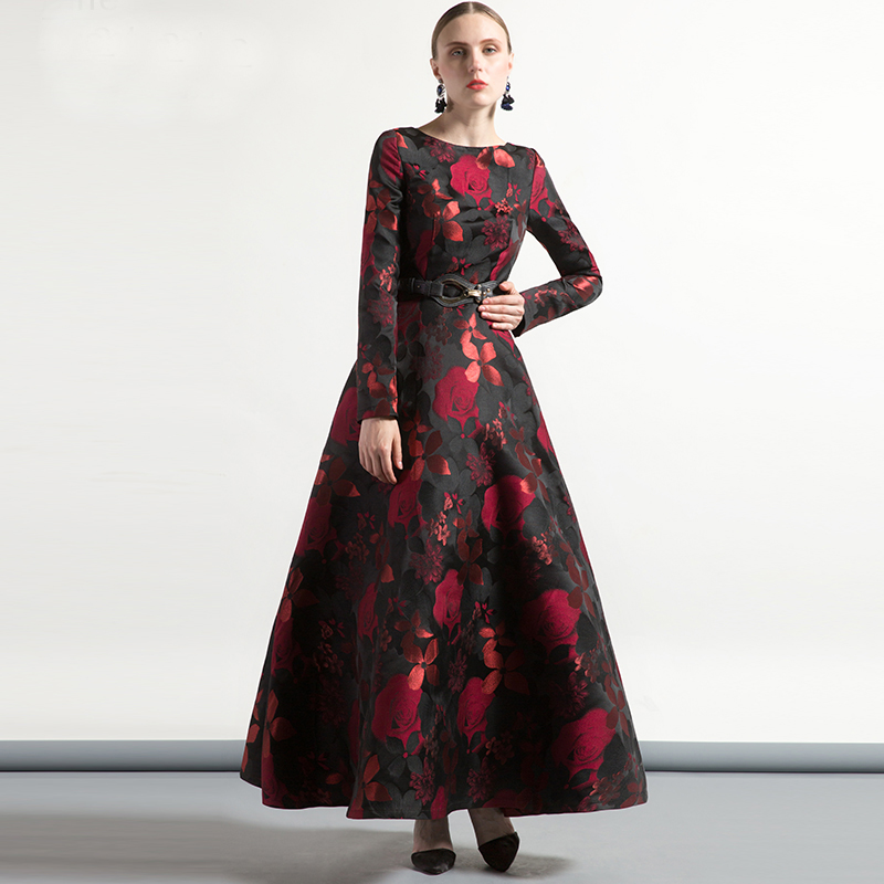 High Quality Elegant Women Long Sleeve Long Maxi Dress Fall Plus Size Floral Lady Jacquard Autum