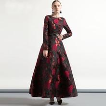عالية الجودة أنيقة المرأة طويلة الأكمام فستان طويل ماكسي الخريف حجم كبير الأزهار سيدة الجاكار الخريف الشتاء فستان vintage الموضة
