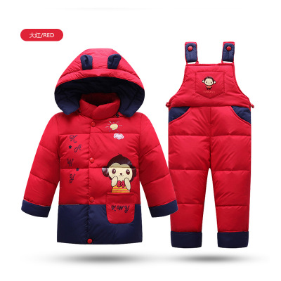 ФОТО Children down jacket for boy  grils children baby infant with thick winter coats two suspenders can open file
